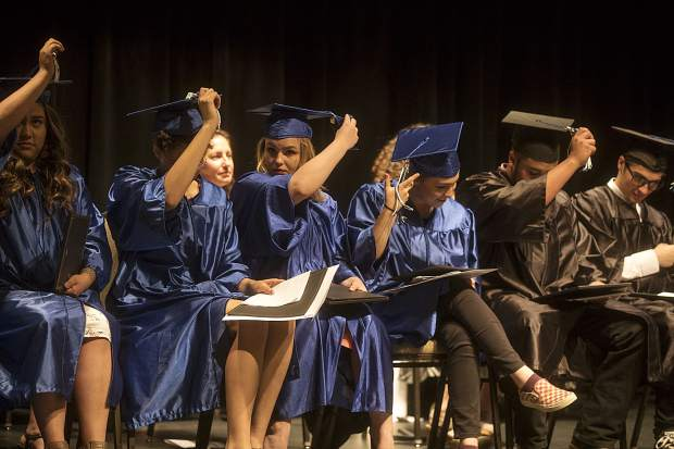 Snowy Peaks High School graduates during the ceremony Thursday, May 24, inside the Silverthorne Pavillon.