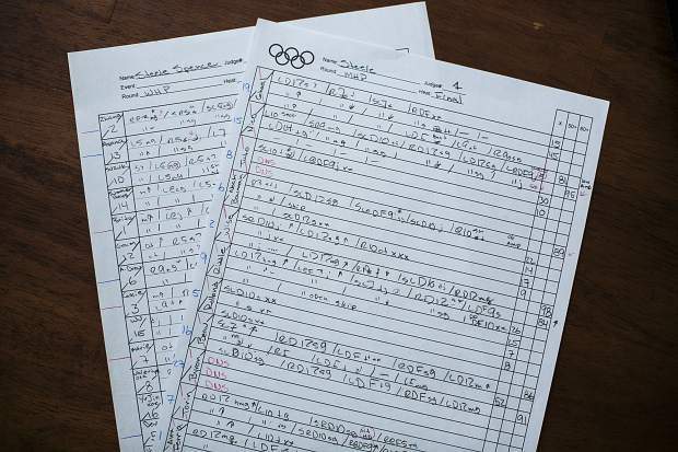 Steele Spence's judging sheets, including the 2018 Winter Olympics ski halfpipe finals shown in the photo, Friday, May 4, from his office in Silverthorne.