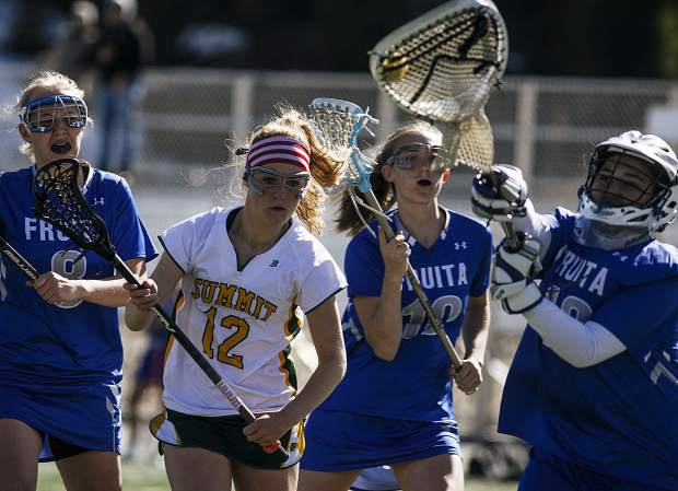 Summit High School and Fruita High School girls lacrosse face off in a homematch Wednesday, April 25, at Climax Molybdenum Field at Tiger Stadium.
