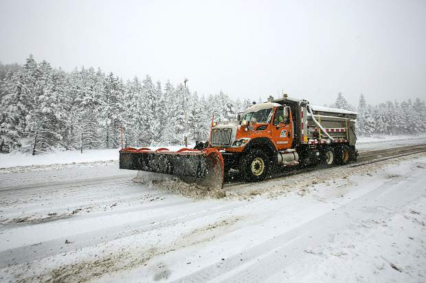 A snowplow on interstate 70 Thursday in Silverthorne.