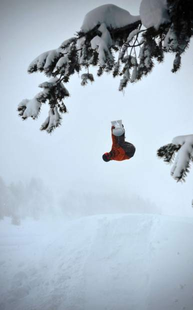Michael Mawn, 18, of Breckenridge competes during a big mountain freeride snowboard competition this past season.