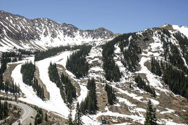 Thin snowpack seen on Saturday, June 2, at Arapahoe Basin.