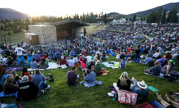 People attend the newly renovated Dillon Amphitheater's first Concert Series of the summer Friday evening, June 29, in Dillon.