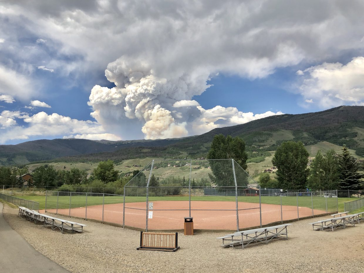 The Sugarloaf Fire as seen from Trent Park in Silverthorne.