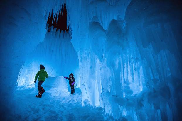 Young visitors explore the Ice Castles at the Dillon Town Park on Friday, Dec. 29, 2017. While the Ice Castles were certainly a boon to local businesses, damage to the park has left their return in question in 2018 and beyond.
