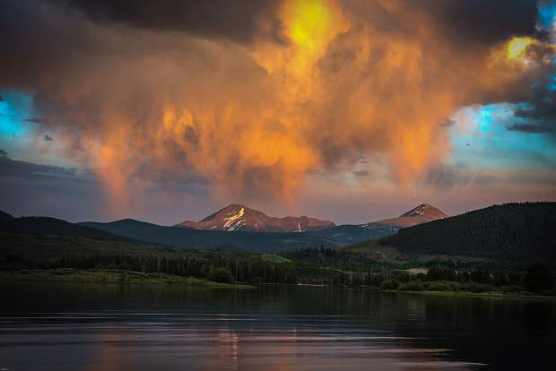 Sunset over Lake Dillon on Saturday.