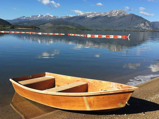 A handmade boat made by Daniel Azbell, 17, at Lake Dillon early Wednesday morning. The maiden voyage was a success for Daniel.