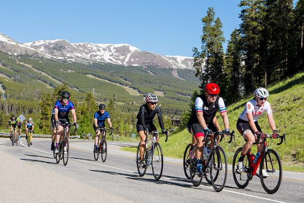 Saturday's Ride The Rockies Prologue Expreience participants ride a stretch of the 54 miles and 4,434 feet of elevation from Breckenridge, down to Fairplay and back to the start and finish line of this year's tour.