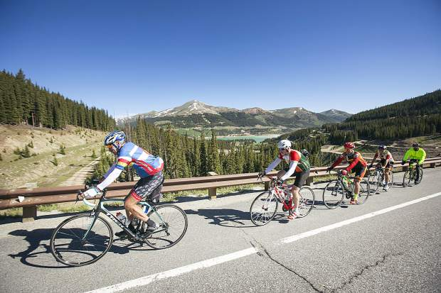 Bicyclists participating in the 6-day Ride the Rockies tour pedal up Fremont Pass on Highway 91 on Sunday, June 10, near Frisco. The loop route consists of 419 miles with 25,935 vertical feet passing through Edwards, Steamboat Springs, Grand Lake, and Winter Park before returning to Breckenridge.