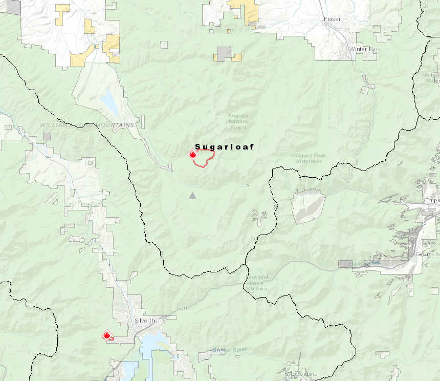 The Sugarloaf Fire is burning 4.5 miles from Summit and has increased to 800-900 acres in size.