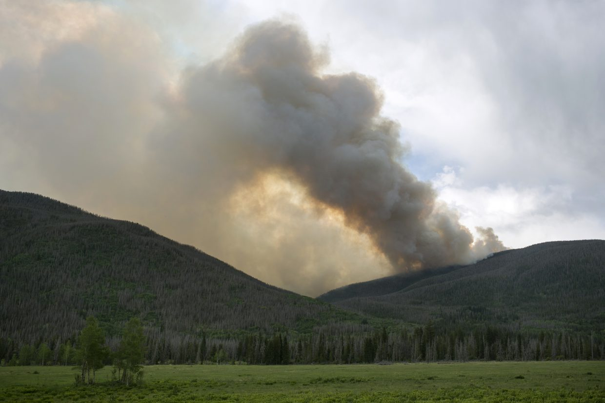The Sugarloaf Fire grows in the Williams Fork Range Thursday afternoon, June 28, 2018 near Silverthorne, Colo. The fire, started by lightning in the previous night, reached 200 acres as of 5:20 p.m. Thursday.