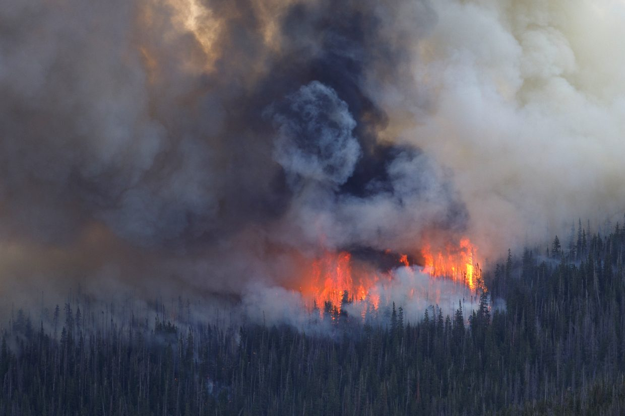 The Sugarloaf Fire grows in the Williams Fork Range Thursday afternoon, June 28, near Silverthorne. The fire, started by lightning in the previous night, reached 200 acres as of 5:20 p.m. Thursday.