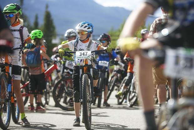 Junior Girls 11-12 race participant Talia Ruppert gets ready to race during the second event of this summer's Summit Mountain Challenge mountain bike race series, the Gold Run Rush, which took place Wednesday evening in and around the Wellington neighborhood of Breckenridge.