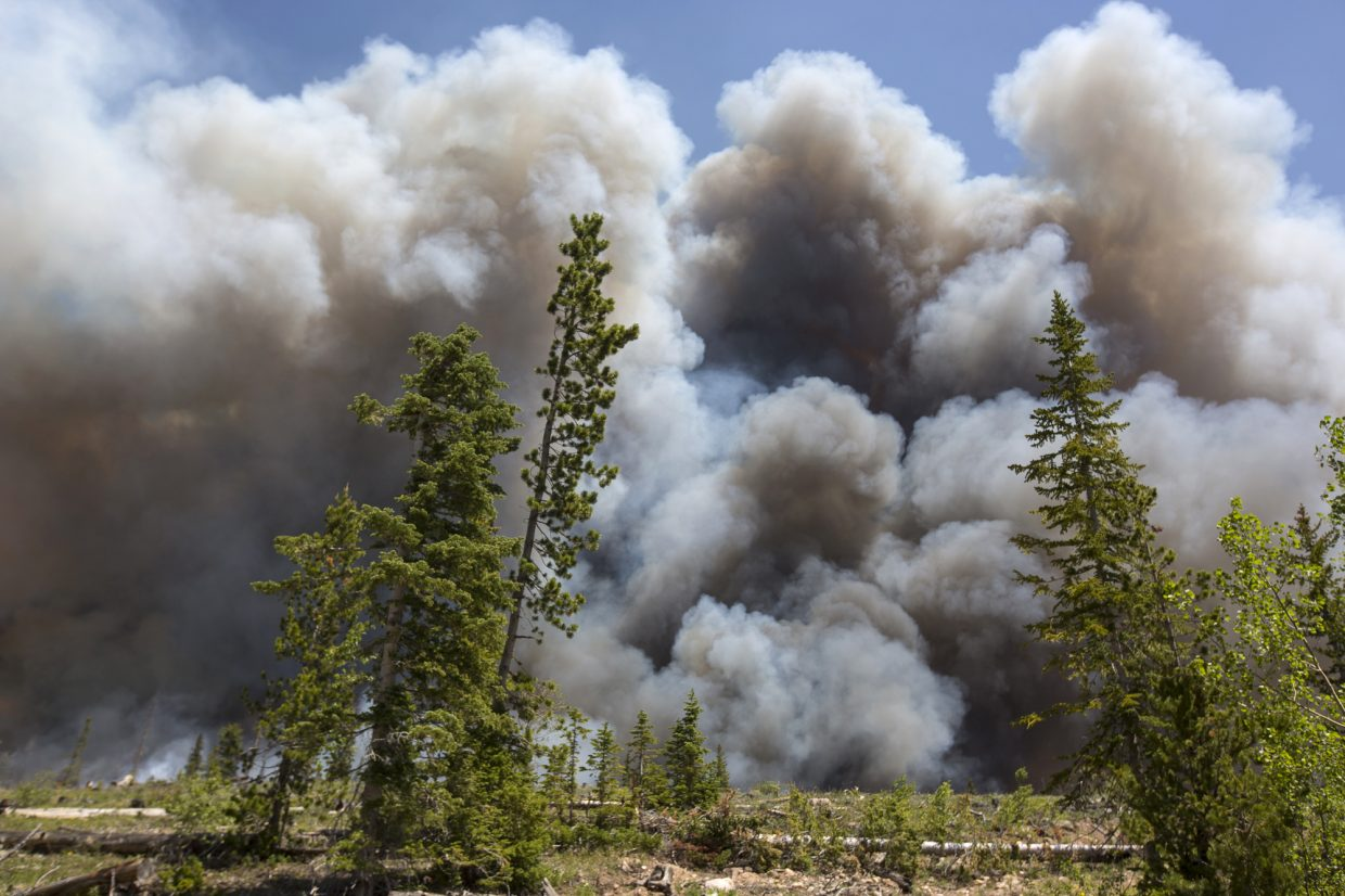 A wildland fire spreads in the Wildernest neighborhood Tuesday, June 12, near Silverthorne.