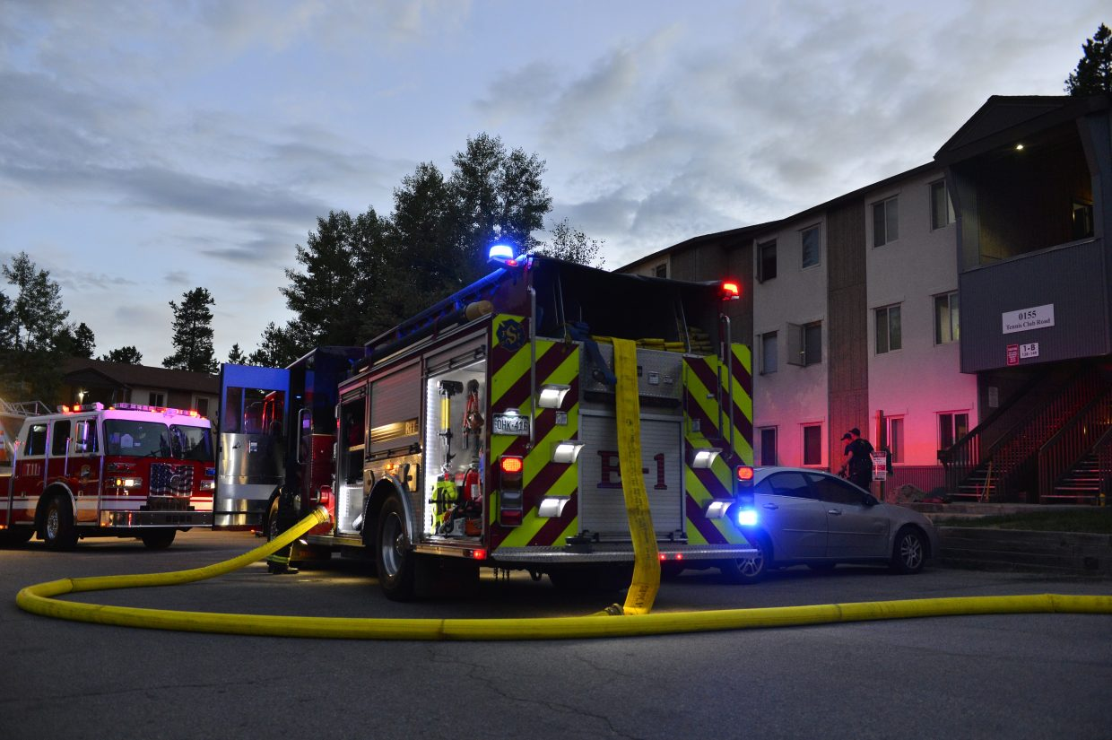 Summit Fire & EMS trucks respond to a condo fire in Keystone.