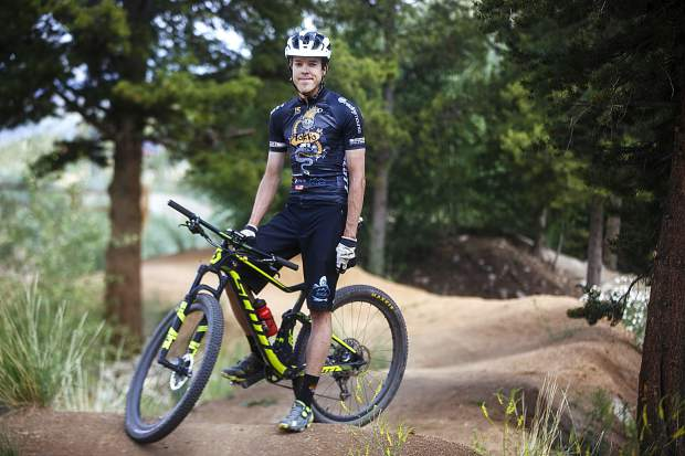 Breckenridge local and professional road cyclist Taylor Shelden, 31, rides the familiar Wellington Park neighborhood mountain biking trails in his hometown of Breckenridge on Friday in preparation for his first attempt at the Breckenridge 100 mountain biking race the following day.
