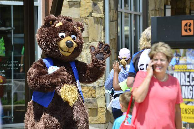 The mascot for Children's Hospital Colorado works the scene Sunday at Copper Mountain during the 29th Courage Classic.