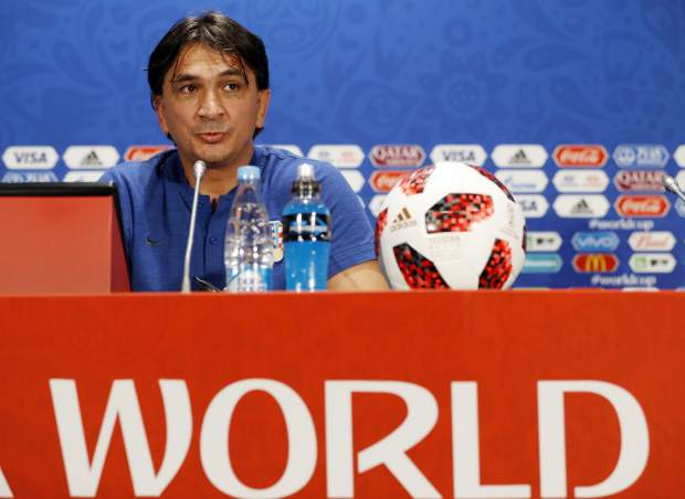 Croatia head coach Zlatko Dalic answers a question during a press conference at the 2018 soccer World Cup in Moscow, Russia on Thursday, July 12.