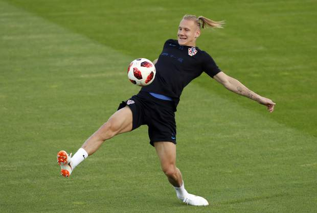 Croatia's Domagoj Vida kicks the ball during a training session of the Croatian national team at the 2018 soccer World Cup in Moscow, Russia on Friday, July 13.