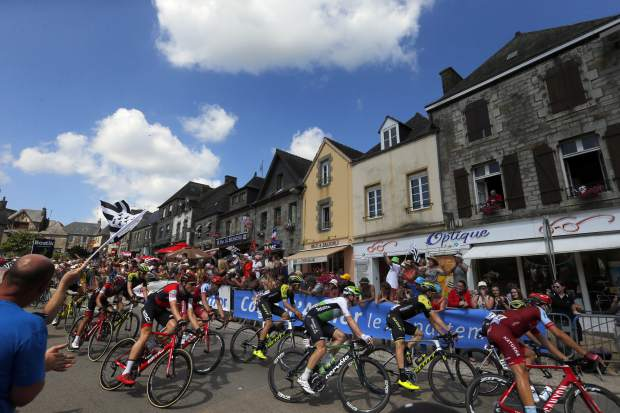 The pack rides during the sixth stage of the Tour de France cycling race over 181 kilometers (112.5 miles) witha start in Brest and finish in Mur-de-Bretagne Guerledan, France on Thursday, July 12.