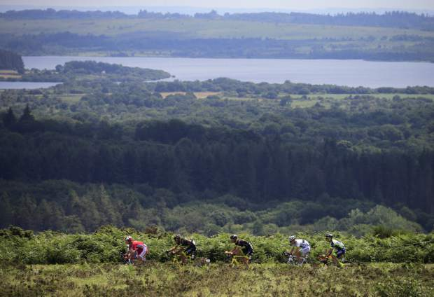 The pack rides during the sixth stage of the Tour de France cycling race over 181 kilometers (112.5 miles) with start in Brest and finish in Mur-de-Bretagne Guerledan, France on Thursday, July 12.