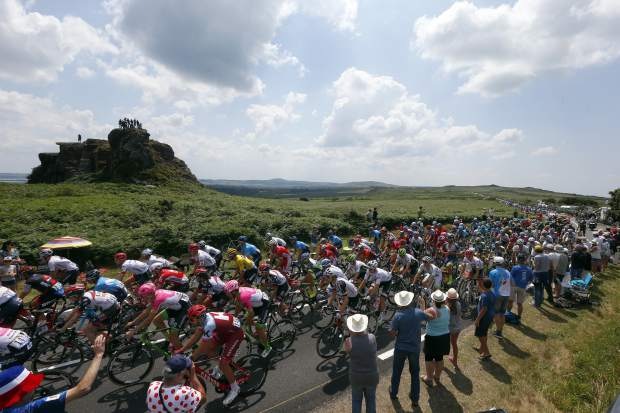The pack rides during the sixth stage of the Tour de France cycling race over 181 kilometers (112.5 miles) with a start in Brest and finish in Mur-de-Bretagne Guerledan, France on Thursday, July 12.