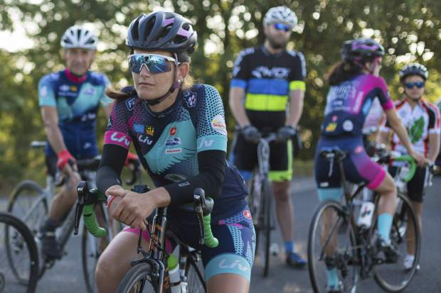 Stephanie Bonfils contemplates the task ahead before the 218-kilometer (135-mile) stage from Carcassonne to Bagneres-de-Luchon in Pyrenees, France on Monday. Bonfils is a member of a 13-woman team cycling the Tour de France route to promote women's cycling and a return of the women's Tour.