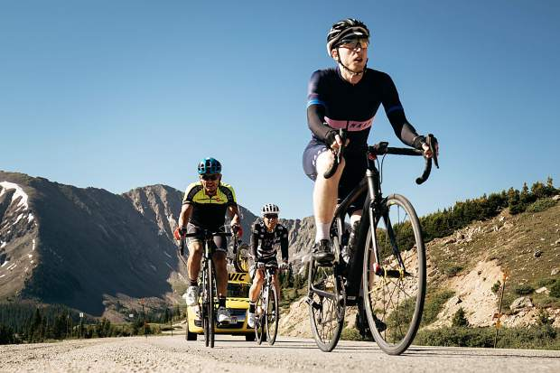 Cyclists descend from Loveland Pass on Thursday as part of the grueling 113-plus-mile Day 6 of the 2018 Mavic Haute Route Rockies cycling tour, a seven-day expedition for elite cyclists that concluded in Colorado Springs on Friday and featured Breckenridge and Summit County as its
