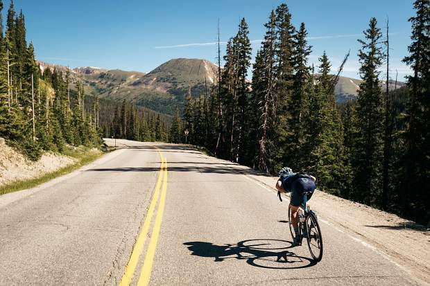 A group of cyclists ascend to Loveland Pass on Thursday as part of the grueling 113-plus-mile Day 6 of the 2018 Mavic Haute Route Rockies cycling tour, a seven-day expedition for elite cyclists that concluded in Colorado Springs on Friday and featured Breckenridge and Summit County as its
