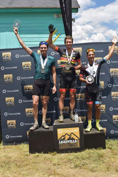 Breckenridge's Sam O'Keefe, left, poses for a photograph on the podium following his second-place finish at Saturday's Leadville Race Series Silver Rush 50 mountain bike race, won by Ryan Petry of Boulder (center), as at left is third-place finisher Cody Waite of Denver.