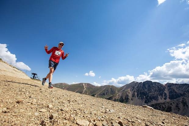 Dale Tomrdle runs at Arapahoe Basin Ski Area on Sunday as part of the ski area's first race of this summer's trail running series, a 4.9-mile race from the base area's Mountain Goat Plaza to the top of Pallavicini and back down.