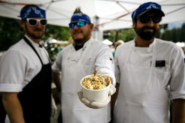 CB Grille's roasted pork and brie mac and cheese with apple, fennel, artichoke and butter cracker crust served fresh by the cooks at their booth Saturday, July 28, at Copper Mountain.