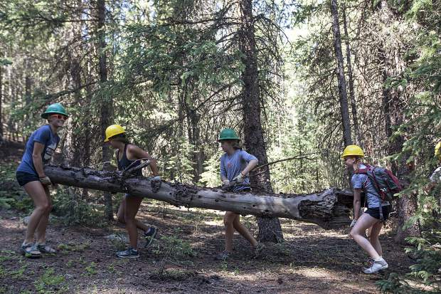 Volunteers move a dead log to restore the forest damaged by illegal camping Friday, July 6, along Peru Creek near Montezuma.