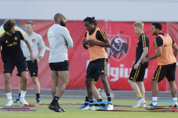 Belgium's assistant coach Thierry Henry looks on during a training session at the 2018 soccer World Cup in Dedovsk, Russia on Sunday, July 8.
