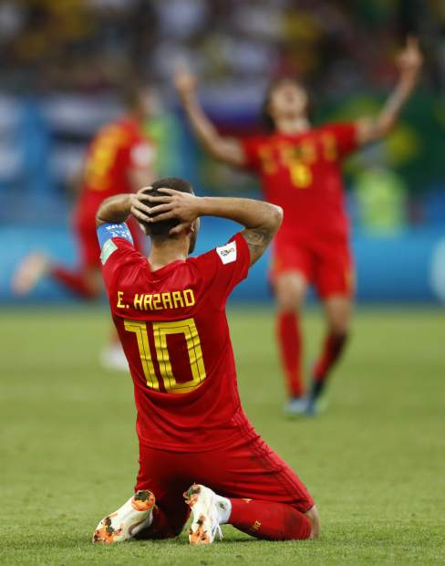 Belgium's Eden Hazard reacts at the end of the quarterfinal match between Brazil and Belgium at the 2018 soccer World Cup in the Kazan Arena, in Kazan, Russia on Friday, July 6. Belgium won the game 2-1 to advance to Tuesday's noon MST semifinal match versus France.
