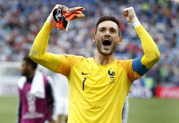 France goalkeeper Hugo Lloris celebrates after the quarterfinal match between Uruguay and France at the 2018 soccer World Cup in the Nizhny Novgorod Stadium, in Nizhny Novgorod, Russia on Friday, July 6. France defeated Uruguay 2-0.