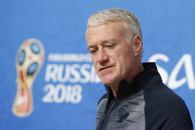 France head coach Didier Deschamps arrives at a press conference on the eve of his semi final against Belgium at the 2018 soccer World Cup in St. Petersburg, Russia on Monday, July 9.