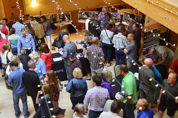 People fill the Silverthorne Pavilion during a dual-purpose community forum Thursday night featuring the latest updates for the Fourth Street Crossing project in addition to details regarding a highway 9 transportation plan.