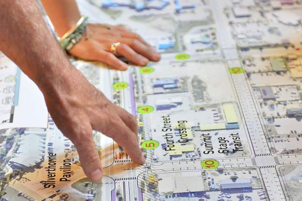 Silverthorne's director of public works, Tom Daugherty, goes over the town's Highway 9 transportation plan during a community meeting Thursday night at the Silverthorne Pavilion.