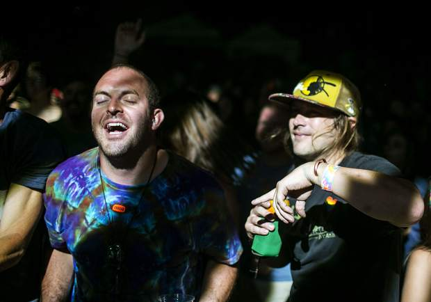String Cheese Incident fans in the crowd at the Dillon Amphitheater Tuesday night, July 17, in Dillon.