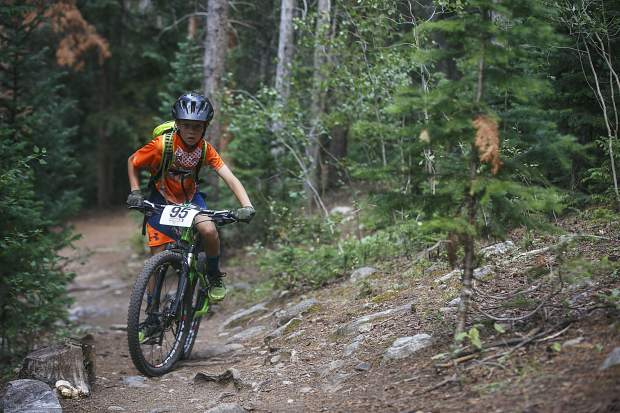 Junior boys 10 & under competitor Cody Keyes of Team Breck rides his mountain bike during the fourth Summit Mountain Challenge mountain bike event of the summer series, the Pennsylvania Gulch Grind, on Wednesday, July 18, in Breckenridge.
