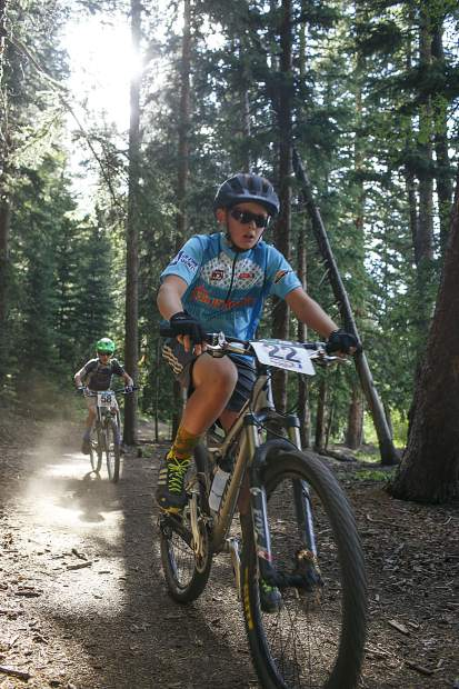 Junior boys 11-12 competitors Caden Lundberg (front) and Barrett Poupore ride their mountain bikes during the fourth Summit Mountain Challenge mountain bike event of the summer series, the Pennsylvania Gulch Grind, on Wednesday, July 18, in Breckenridge.