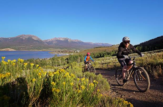 The Oro Grande mountain bike trail with views of Lake Dillon in Dillon, Colorado.