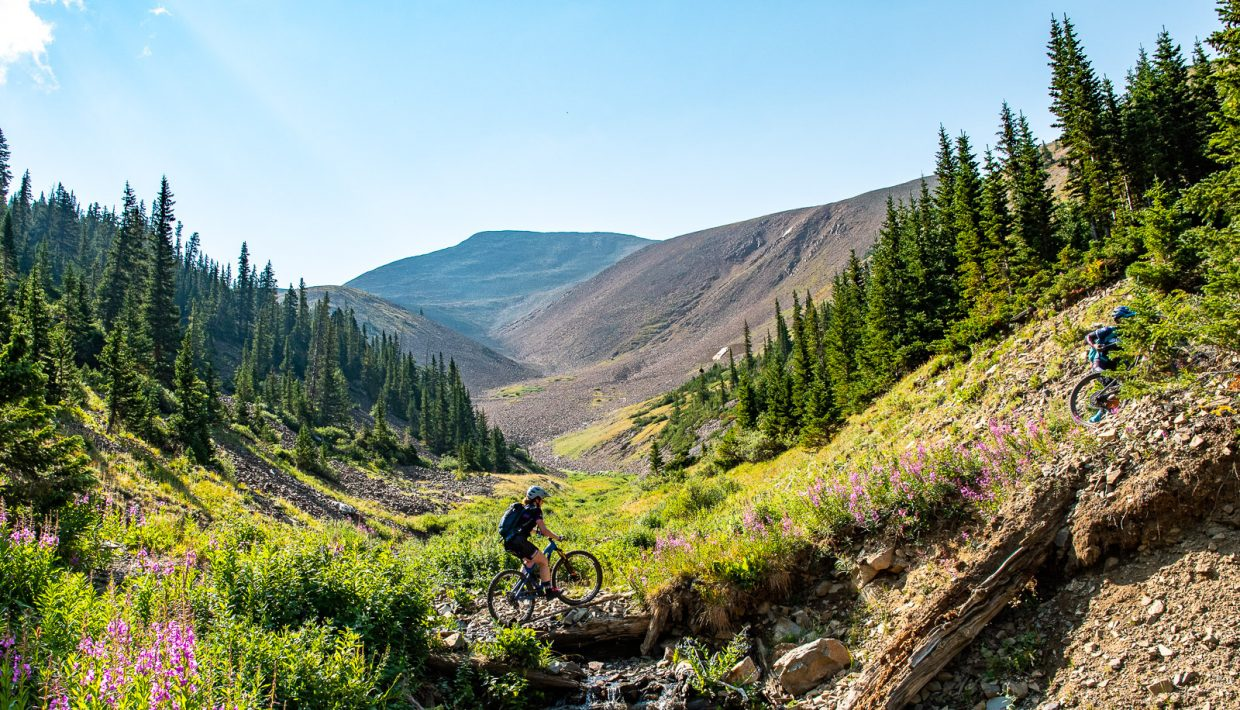 Mountain bikers traverse the Breck Epic course during Tuesday's Day 3 of the 10th annual Breck Epic multi-stage mountain bike race. Day 3 required riders to complete a 41-mile circumnavigation of Mount Guyot.