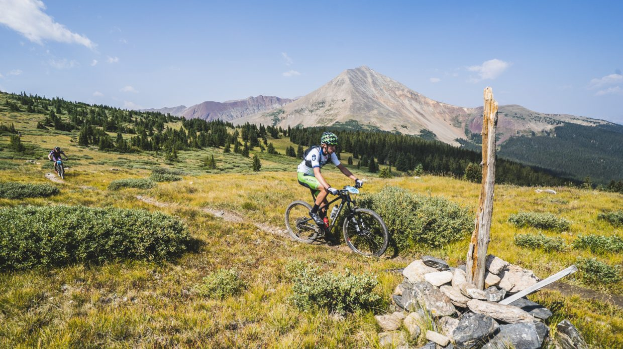 During Tuesday's Day 3 of the 10th annual Breck Epic multi-stage mountain biking event, riders rode through this stretch of track complete with thin air and a side of big views.