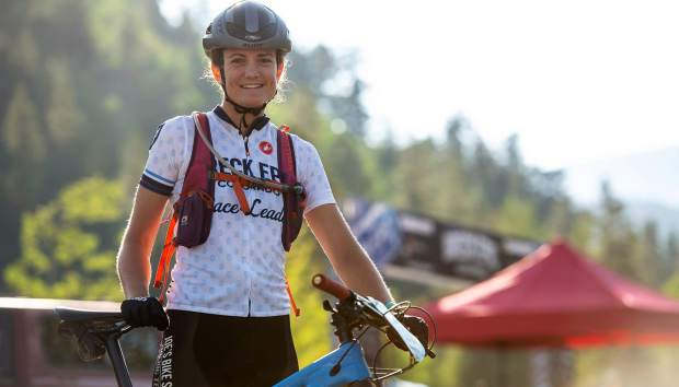 Carla Williams poses for a photograph on Friday after winning the Breck Epic multi-stage mountain bike race's women's pro division in her first attempt at the event.