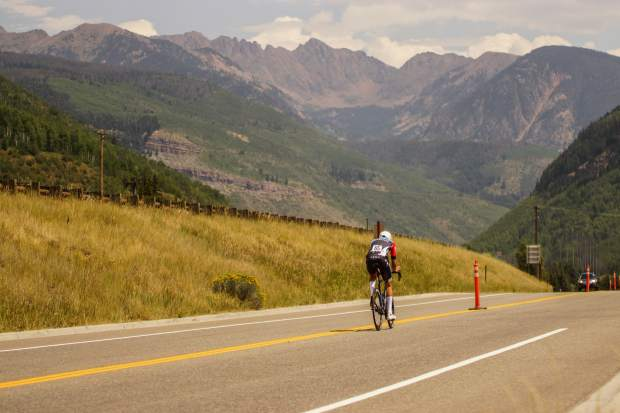 Thomas Revard heads east towards Vail pass during stage 2 of the Colorado Classic on Friday in Vail.