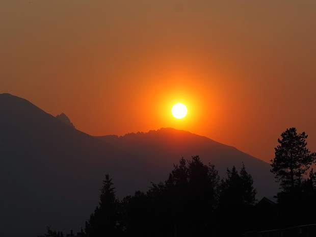 A smoky sunset as seen from Dillon amphitheater.