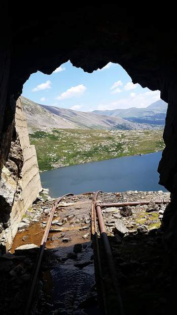 View from inside the gold mine shaft near Hoosier Pass.