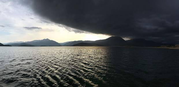 A storm rolls over Lake Dillon.